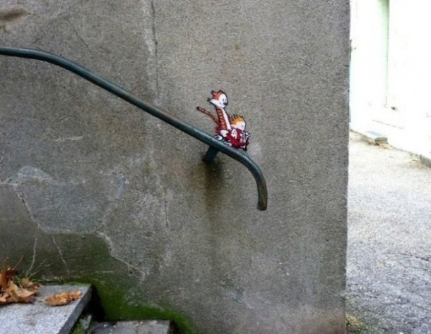 Calvin and Hobbes Street Art