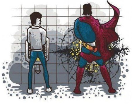 Superman Peeing
