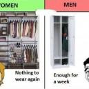 Women vs. Men Wardrobe