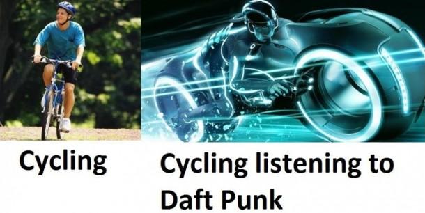 Cycling Listening To Daft Punk