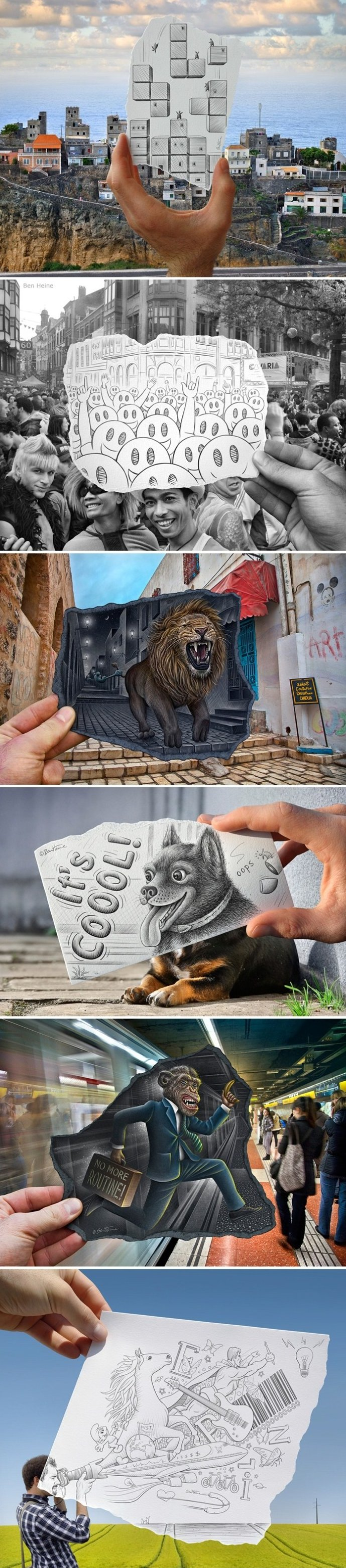 Awesome Blending of Drawings and Photos