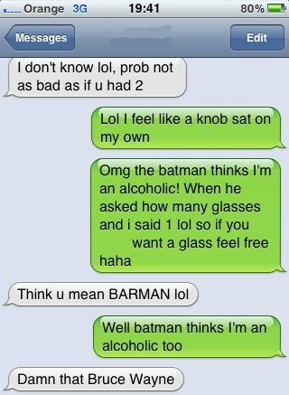 Batman Thinks I'm Alcoholic?