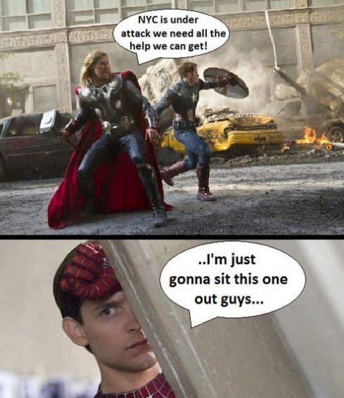 Avengers vs. Spiderman MEME