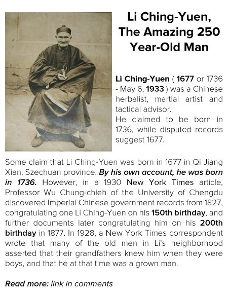 Li Ching-Yuen, The Amazing 250 Year-Old Man