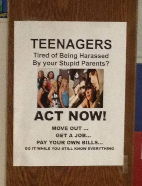 Teenagers! Act Now!