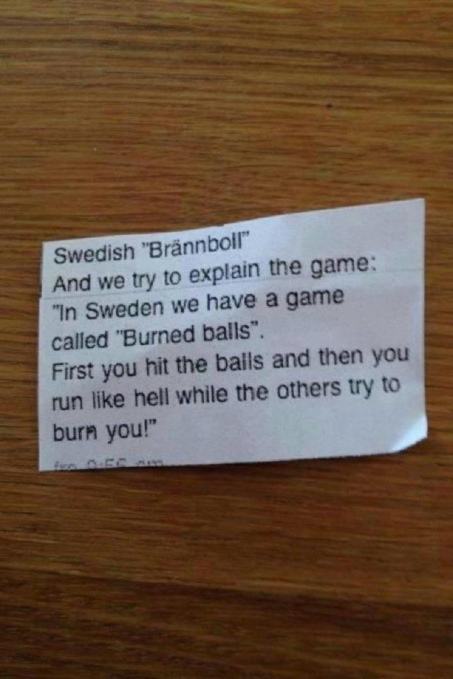 In Sweden We Have a Little Game…