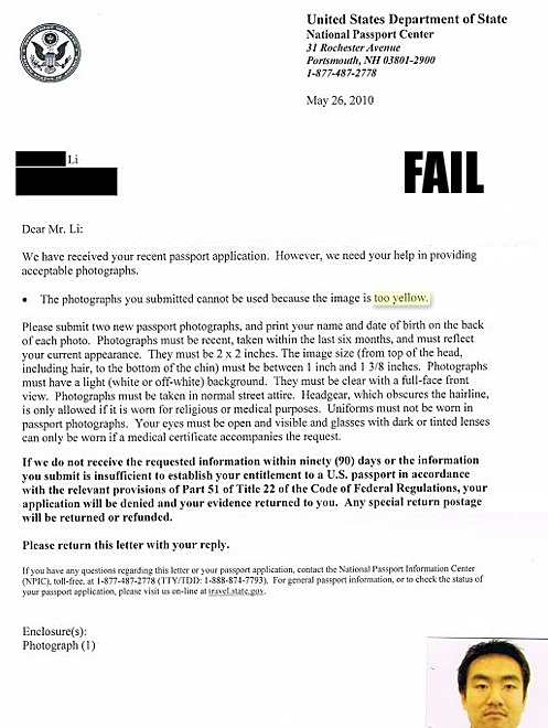 Passport Rejection Fail