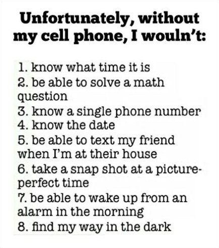 Without My Cell Phone, I Wouldn't…