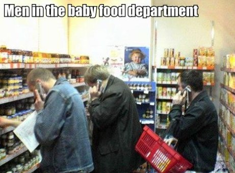 Men in the baby food department