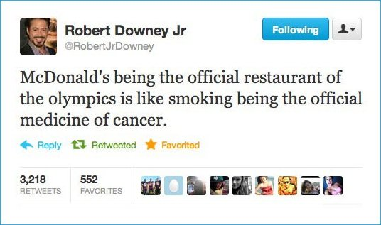 Robert Downey Jr. on the Olympics