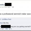 Not sure if getting a job at subway or getting married…