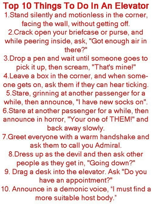 Top 10 things to do in an Elevator