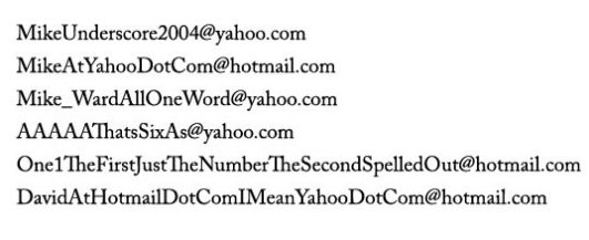 Email addresses it would be really annoying to give out over the phone