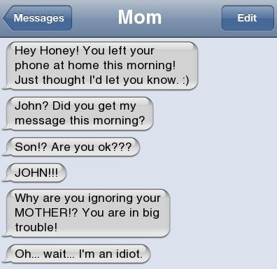 Text Message – Idiot Mom