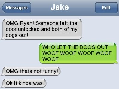 Text Message – Who let the dogs out