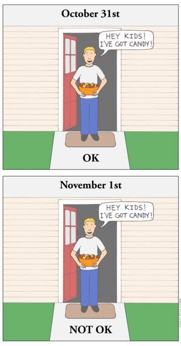 Giving candy to kids