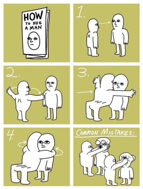 How to hug a man