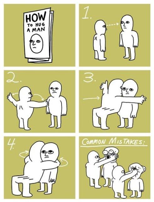 How to hug a man