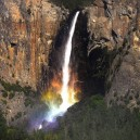 Rainbow on watterfall in Yosemite National Park