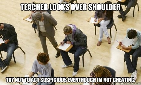 Teacher looks over shoulder