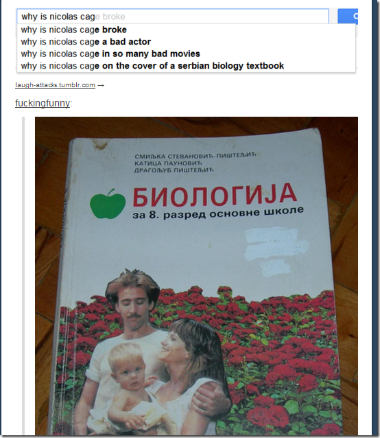 Why is Nicolas Cage on the cover of a Serbian Biology Textbook?