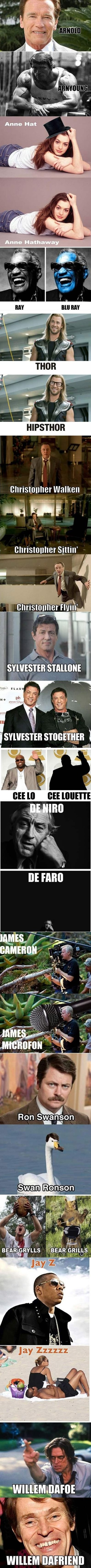 A compilation of celebrity puns