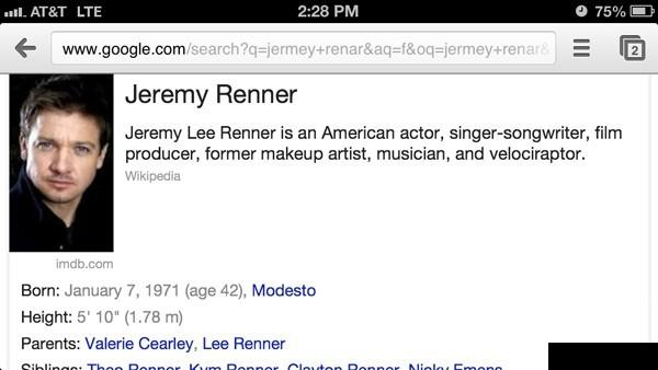 Jeremy Renner Sure Is Talented
