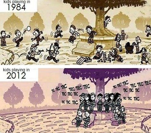 Kids playing then and now