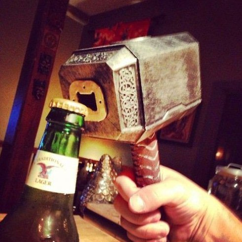 Thors hammer bottle opener
