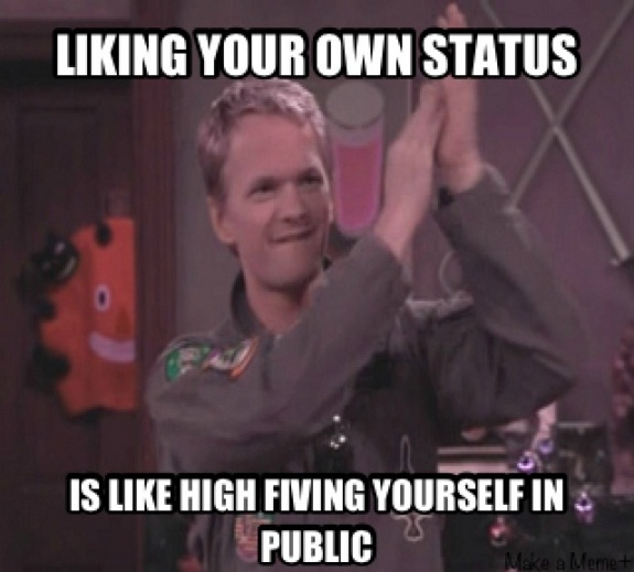 Liking your own status