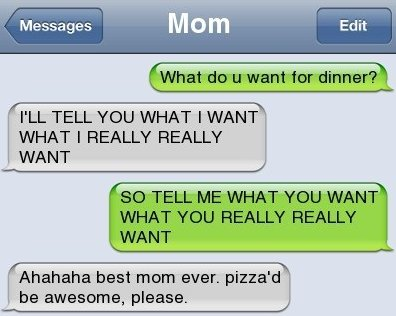 Sms How To Tell Your Mom What You Want To Eat Funlexia
