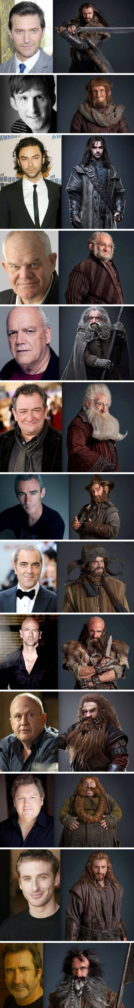 The Hobbit dwarves – pre and post make up
