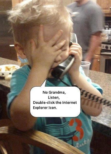 Baby talking with grandma