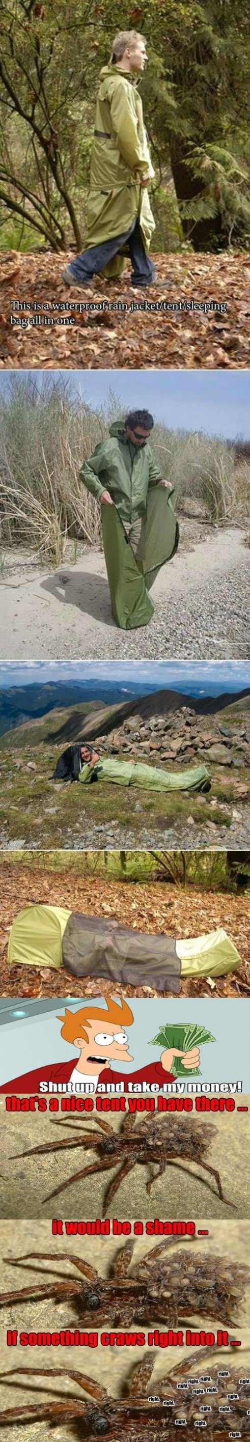 Combination of jacket, tent and sleeping bag