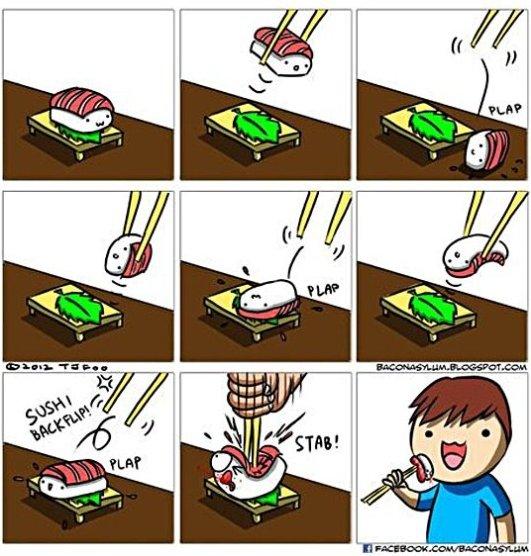 Eating sushi with chopsticks