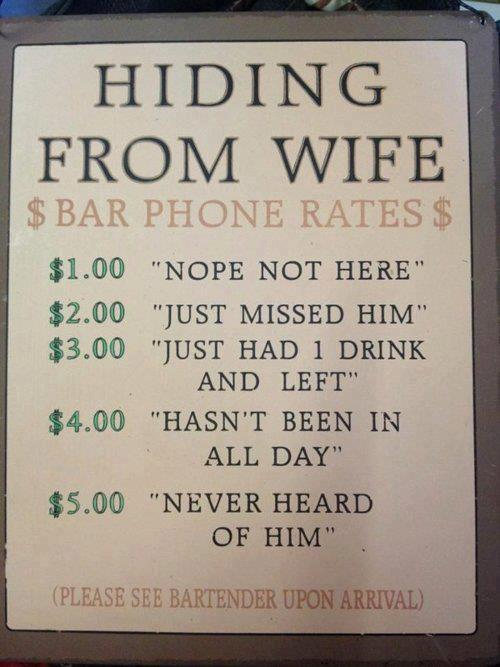 Hiding from wife bar phone rates