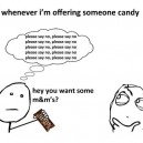 Offering someone candy
