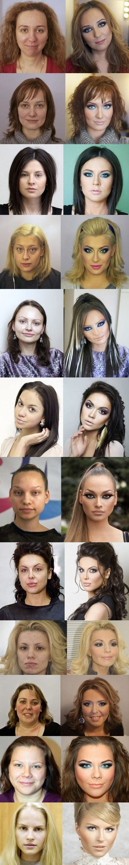 Russian Makeup, Before And After