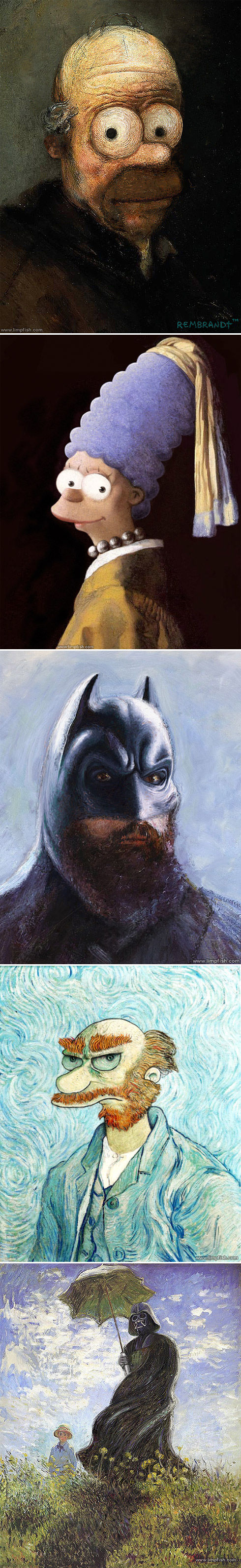 Popculture icons painted in the style of classic art