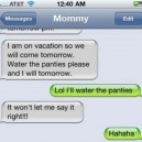 Text message from mommy