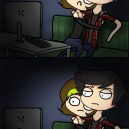 Watching a scary movie on the computer