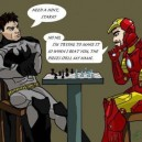 Batman and Iron Man playing chess