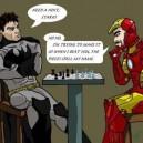 Batman and Iron Man playing chess
