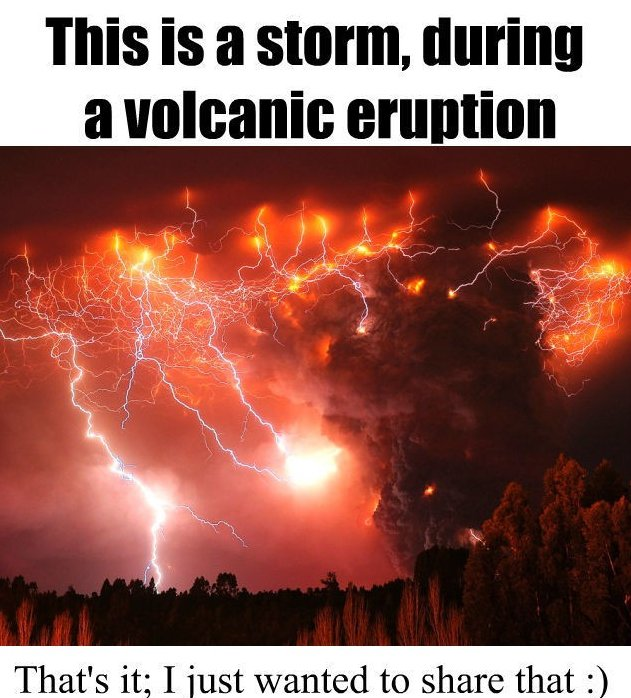 Storm during volcanic eruption