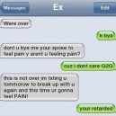 Text message from the EX