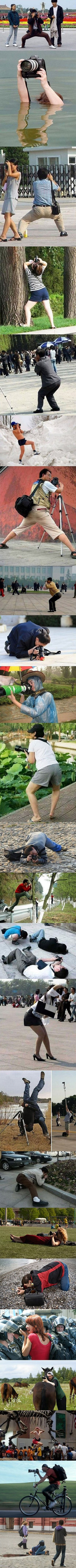 The many poses of a photographer