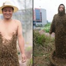 Crazy Man Covered In Bees
