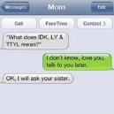 SMS from mother