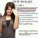 Top 10 Lies By A Girl