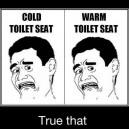 Cold toilet seat